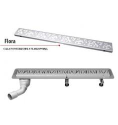 Odpływ Liniowy FLORA. Wysokść całkowita od 8,6cm. Długość 50-120cm