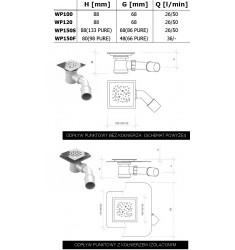 Odpływ punktowy WP syfon Fi50mm lub Fi90mm