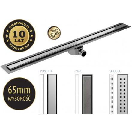 Odpływ  ELITE niski 72mm. Szerokość 48mm. Długość 50-120cm.
