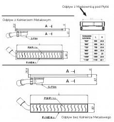 GLASS (L95-G) - Odpływ Liniowy z Szklaną Pokrywa. Syfon z boku